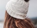 Knitted white pompom cap