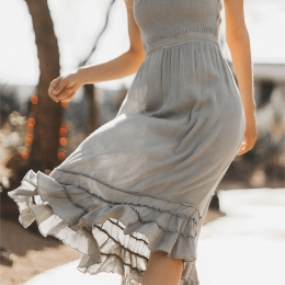 Beige strappy summer dress