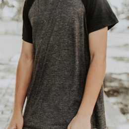 Raglan grey & black Tee